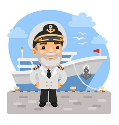 cartoon captain with ship vector image