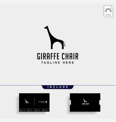 Chair giraffe logo design icon icon isolated vector