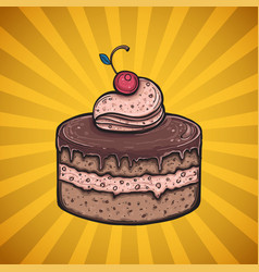 Chocolate cake poster vector