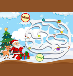 christmas maze game template vector image