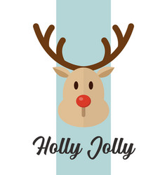 christmas reindeer greeting card vector image