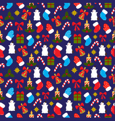 christmas seamless pattern on dark blue background vector image