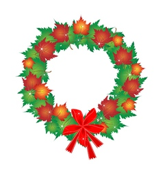 Christmas Wreath of Maple Leaves and Red Bows vector image