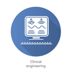 clinical engineering blue flat design long shadow vector image