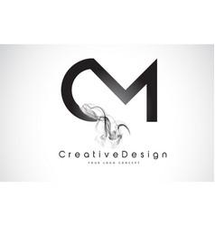 Cm letter logo design with black smoke vector