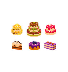 collection cakes set various delicious vector image