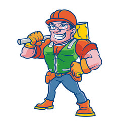 construction worker mascot vector image