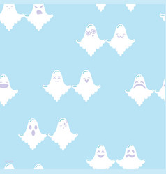 couple of ghosts cartoon seamless pattern vector image