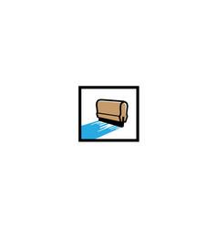 creative box squeegee silkscreen logo symbol vector image