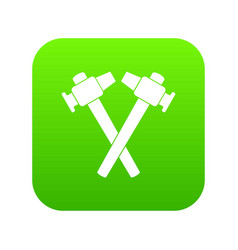 crossed blacksmith hammer icon digital green vector image
