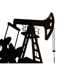 Darck silhouette oil rig and pumps during vector