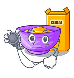 Doctor cereal box in a cartoon bowl vector