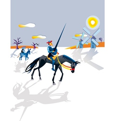 Don Quijote And Windmills vector image vector image