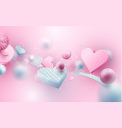 elements heart flying on pink backgroun vector image
