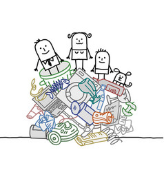 Family on a pile of garbage vector