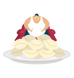 fat guy is sitting on chair and dumplings glutton vector image