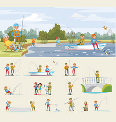 fishing activity concept vector image