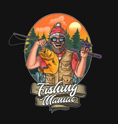 fishing maniac graphic vector image