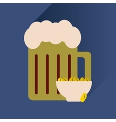 Flat icon with long shadow glass of beer and vector