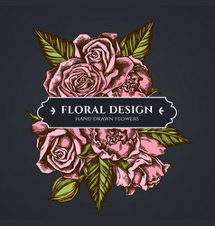 floral bouquet dark design with roses vector image