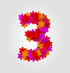 floral numbers colorful flowers number 3 vector image