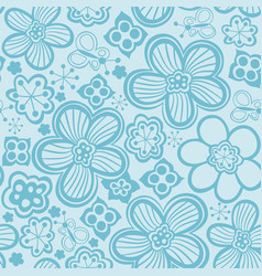 flower pattern black and white seamless vector image