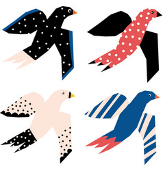 Flying birds abstract papercut style icons vector