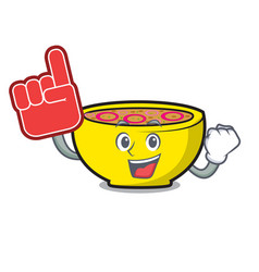 foam finger soup union mascot cartoon vector image