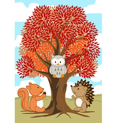 Forest friends under a tree in fall vector