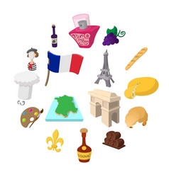 france cartoon icons vector image