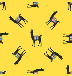 Funny seamless pattern with llamas vector