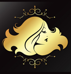 girl profile golden with a pattern vector image