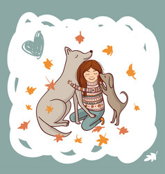 girl with dogs in autumn vector image
