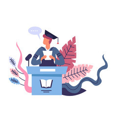 Graduation speech of person wearing mantle and vector