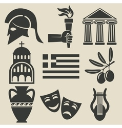 Greece symbol icons set vector