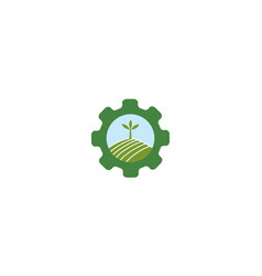 Green agriculture with gear services logo symbol vector