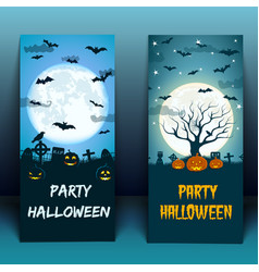 halloween at cemetery banners vector image