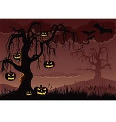 Halloween pumpkin tree background vector