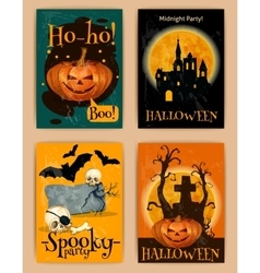 Halloween retro posters vector
