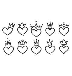 hand drawn crowned hearts doodle princess king vector image