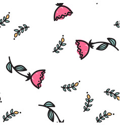 hand drawn red flowers seamless pattern vector image
