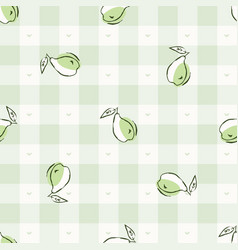 Hand drawn whimsical pear gingham seamless pattern vector