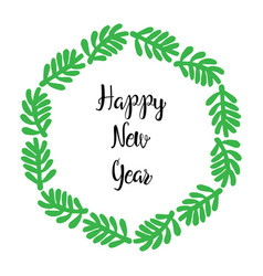 happy new year lettering greeting wreath vector image