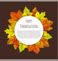 happy thanksgiving day poster round frame leaves vector image