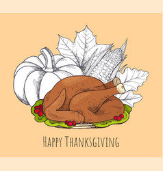 happy thanksgiving poster with food set vector image