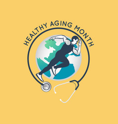 Healthy aging month logo icon vector