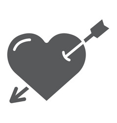 heart pierced with arrow glyph icon love and vector image