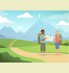 hiking background travel people hiking nature vector image