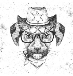 Hipster animal dog hand drawing muzzle of dog vector