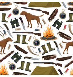 hunting equipment and ammo seamless pattern vector image